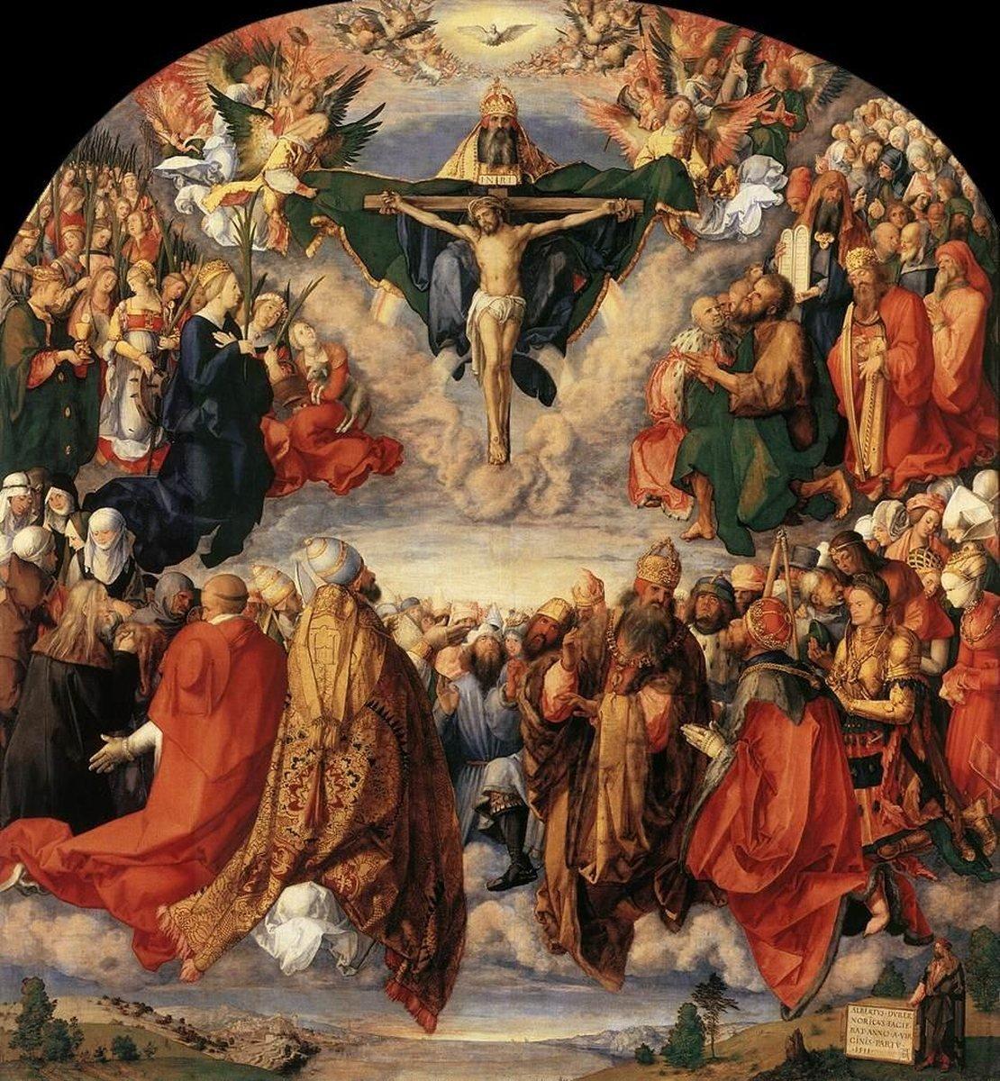 albrecht-durer-the-adoration-of-the-holy-trinity-landauer-altar-detail dans Prières de tous les jours