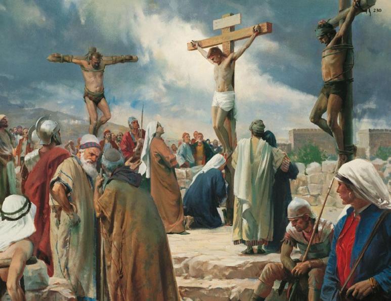 Jésus en croix au calvaire